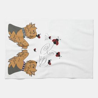 Yorkies and Ladybirds Tea Towel