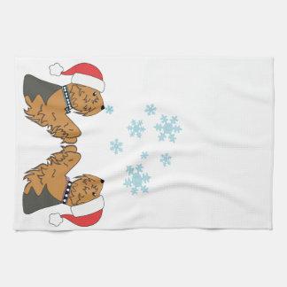 Yorkies and Snowflakes Tea Towel