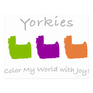 Yorkies Color My World Postcard