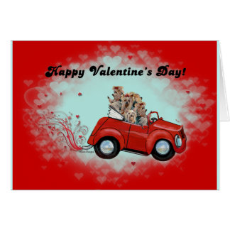Yorkies in Convertible Valentines Greeting Card