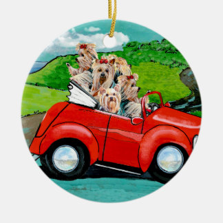 Yorkies in Red Convertible Christmas Ornament