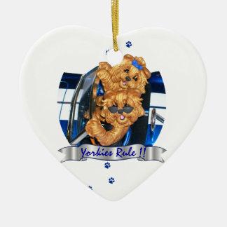 Yorkies Rule !! Yorkshire Terrier Art Ornament ht