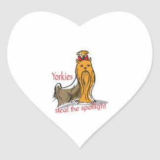 Yorkies Steal The Spotlight Heart Stickers
