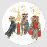 Yorkies Travelling Paris Gifts for... - Customised Round Sticker