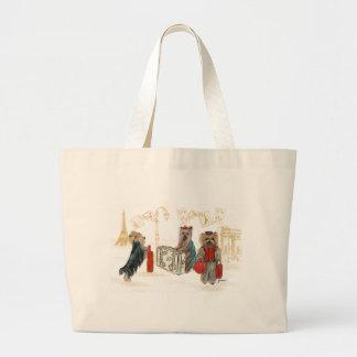 Yorkies Travelling Paris Tote Bag