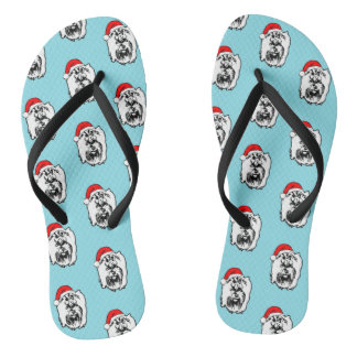 Yorkshier Terrier Dog Christmas Santa Hat Flip Flops