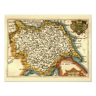 Yorkshire County Map, England 11 Cm X 14 Cm Invitation Card