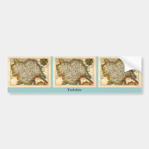 Yorkshire County Map, England Bumper Stickers