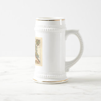 Yorkshire County Map, England Beer Steins