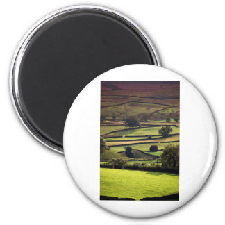 Yorkshire dales in evening sunlight 6 cm round magnet