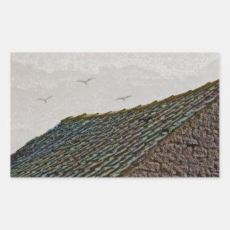 Yorkshire farm building with birds rectangular sticker