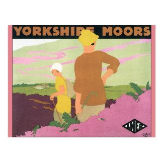 Yorkshire Moors Vintage Travel Poster Postcard
