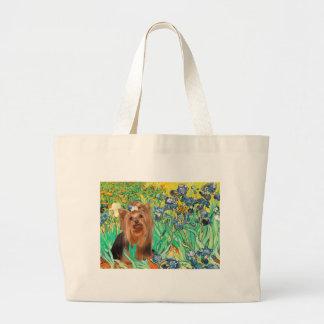 Yorkshire Terrier 7 - Irises Large Tote Bag