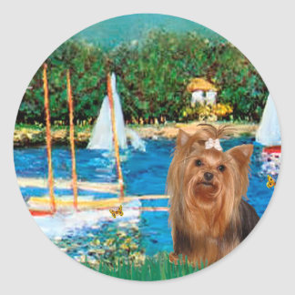 Yorkshire Terrier 7 - Sailboats Classic Round Sticker
