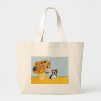 Yorkshire Terrier (Biewer) - Sunflowers Large Tote Bag