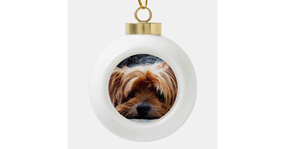 Yorkshire Terrier Christmas Ceramic Ball Christmas ...