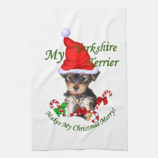 Yorkshire Terrier Christmas Tea Towel