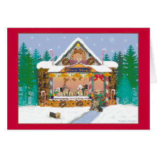 Yorkshire Terrier Christmas Treat Shop Holiday Greeting Card