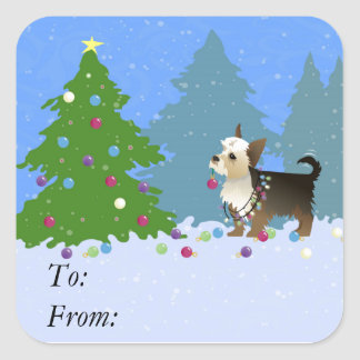 Yorkshire Terrier decorating Christmas Tree-forest Square Sticker