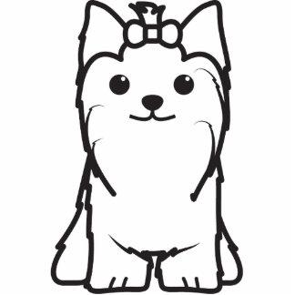 Yorkshire Terrier Dog Cartoon Standing Photo Sculpture