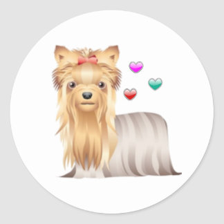 Yorkshire Terrier Love Classic Round Sticker