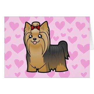 Yorkshire Terrier Love (long hair with bow) Card