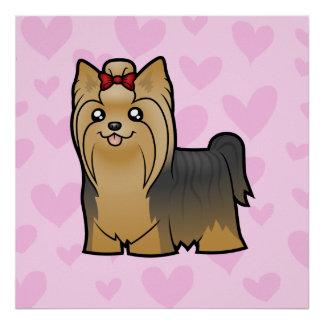 Yorkshire Terrier Love (long hair with bow) Poster