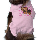 Yorkshire Terrier Love (short hair with bow) Sleeveless Dog Shirt