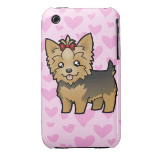 Yorkshire Terrier Love (short hair with bow) iPhone 3 Cases