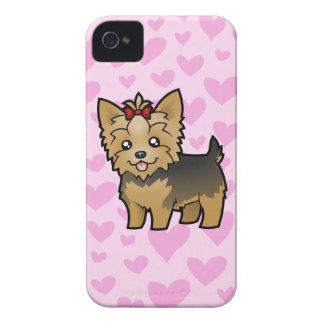 Yorkshire Terrier Love (short hair with bow) iPhone 4 Case
