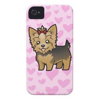 Yorkshire Terrier Love (short hair with bow) iPhone 4 Covers