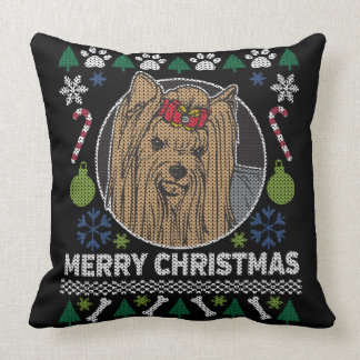 Yorkshire Terrier Merry Christmas Ugly Sweater Cushion