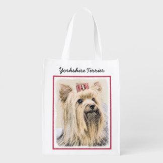 Yorkshire Terrier Painting - Cute Original Dog Art Reusable Grocery Bag