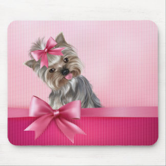 Yorkshire Terrier Pink Princess Yorkie Puppy Dog Mouse Mat