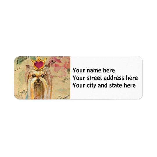 Yorkshire Terrier Princess Return Address Label