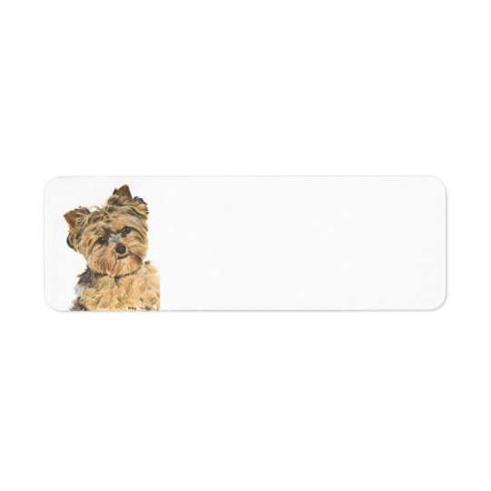 Yorkshire Terrier Pup Painting Return Address Label