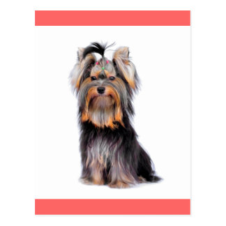 Yorkshire Terrier Puppy Dog Blank Pink Postcard