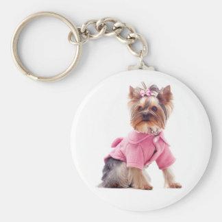 Yorkshire Terrier Puppy Dog In Pink Keychain