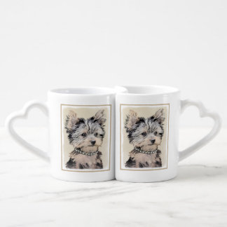 Yorkshire Terrier Puppy Painting Original Dog Art Coffee Mug Set