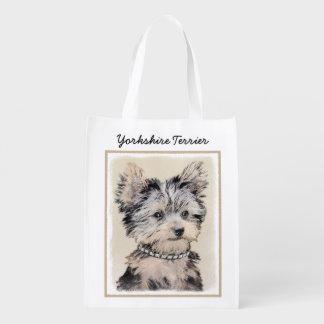 Yorkshire Terrier Puppy Painting Original Dog Art Reusable Grocery Bag