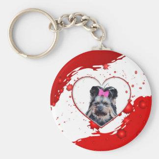 Yorkshire Terrier Red Heart Round Keychain