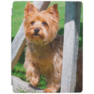 Yorkshire Terrier standing in a wagon wheel iPad Cover
