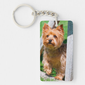 Yorkshire Terrier standing in a wagon wheel Key Ring