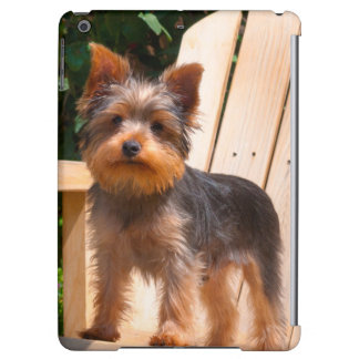 Yorkshire Terrier standing on wooden chair Case For iPad Air