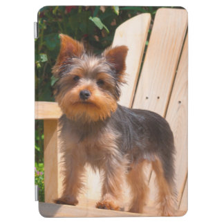 Yorkshire Terrier standing on wooden chair iPad Air Cover