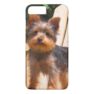 Yorkshire Terrier standing on wooden chair iPhone 8 Plus/7 Plus Case