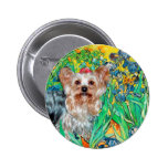 Yorkshire Terrier (T) - Irises Pinback Buttons