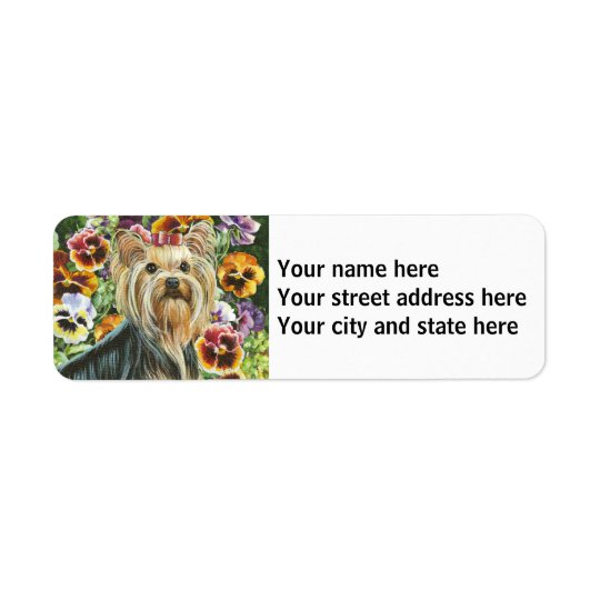 Yorkshire Terrier with Pansies Return Address Label