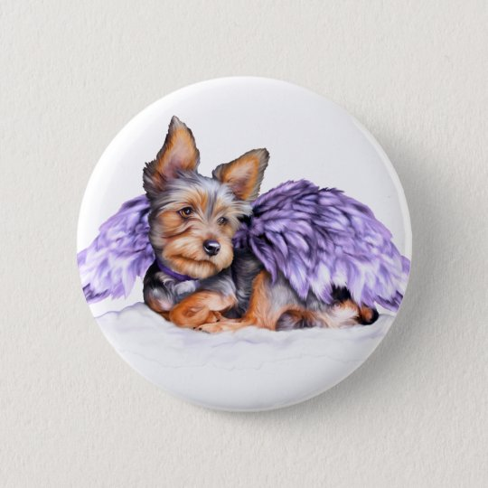Yorkshire Terrier Yorkie Angel 6 Cm Round Badge