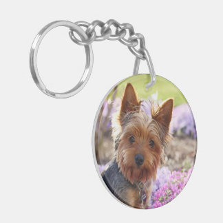 Yorkshire terrier, yorkie dog cute beautiful photo key ring